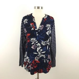 Joules Top Size 10 Navy White Red Striped Floral